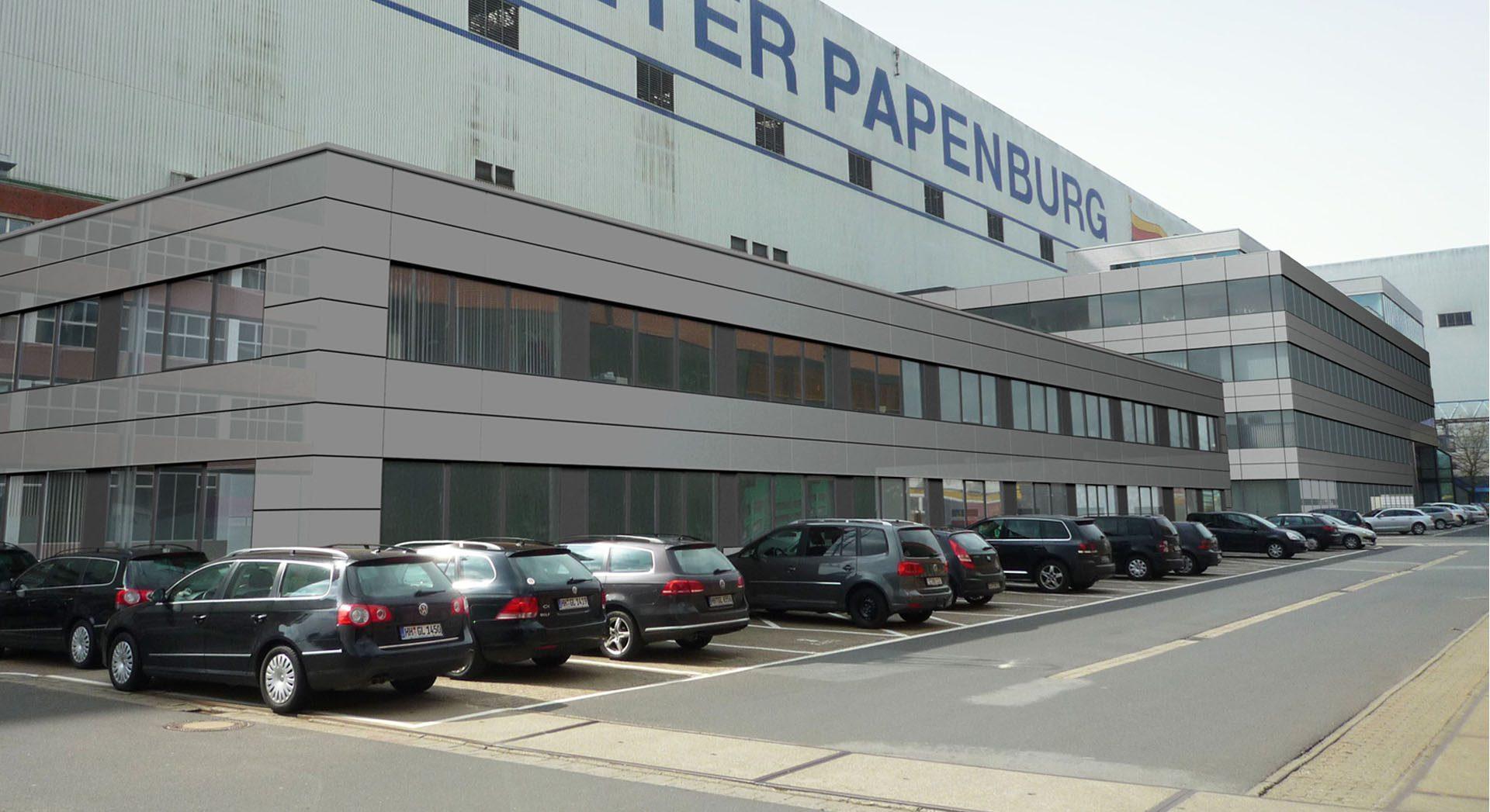 Architektur; Industriearchitektur; Gewerbearchitektur; Alucobond Fassade; Fassadensanierung; Meyer Werft; Verwaltungsgebäude;